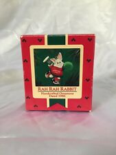 "Vintage 1986 HALLMARK KEEPSAKE CHEERLEADER ""RAH RAH RABBIT"" Christmas Ornament"