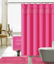 18 Piece Lilian Embroidery Banded Shower Curtain Bath Set (Hot Pink)