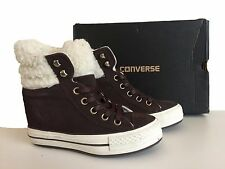 WOMENS CONVERSE BROWN PLATFORM PLUS SHEARLING HI TRAINERS SIZE 3