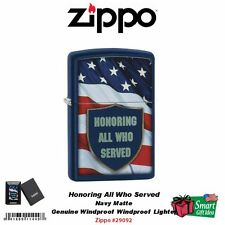 Zippo Honoring All Who Served, USA Flag Military Lighter, Navy Matte #29092