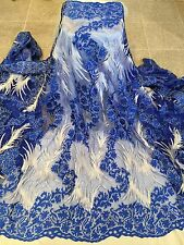 "BLUE WHITE EMBROIDERY RHINESTONE MESH BRIDAL LACE FABRIC 52"" WIDE 1 YARD"