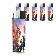 Butane Refillable Electronic Lighter Set of 5 Dragon Design-008 Custom Legends