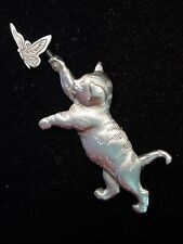 """JJ"" Jonette Jewelry Silver Pewter 'CAT Chasing BUTTERFLY' Pin"