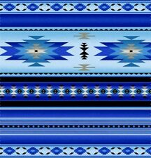 Tucson Southwest Aztec Native American Blue Stripe Cotton Fabric by the Yard
