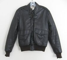 Vintage LL Bean Brown Goatskin Leather Flight Jacket USA ~ Size 34