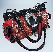 Rustic Couture Purse & Wallet Red Black Faux Leather Rhinestone Western Buckle