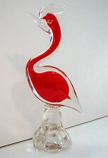 "GORGEOUS MURANO ART GLASS BIRD 8 1/2"" TALL ORANGE / RED CENTER"