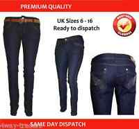 NEW Ladies Girls Women skinny stretch jeans trousers tight fit 6 8 10 12 14