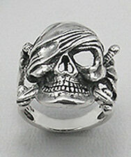 Mens 28mm Wide 15.04g Solid Sterling Silver Pirate Skull Ring Sz 10 HARLEY $295