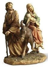 "NEW! 9"" Flight to Egypt Color Statue Figurine Mary Joseph and Baby Jesus Donkey"