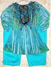 Women Plus Size 3 Pc Lot 3X*Torquoise Sublimation Top *CATHERINES Capri*Necklace