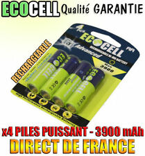 4 PILES ACCU BATTERY AA 3900mAh RECHARGEABLE MIGNON LR6 1.2V Ni-Mh PUISSANT