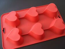 Silicone Mould 6 Cup Heart Muffin Sponge Fairy Cake Tin