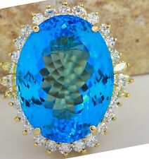 Estate 39.71 Carats Natural SWISS BLUE TOPAZ and Diamond 14K Yellow Gold Ring