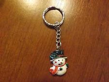 Porte clés argenté bonhomme de neige