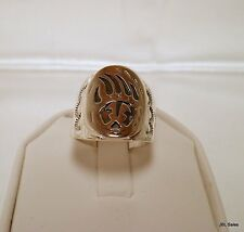 OLD PAWN NAVAJO INDIAN MEN'S STERLING SILVER BEAR CLAW RING SIZE 10 SIGNED