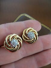 RARE ! Old Vintage Tiffany & Co 14k Gold Diamonds Interlocked Earrings w/Box