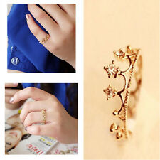 Fashion jewelry Gold Plated Crystal Rhinestone Crown Ring Finger Women Ring Gift