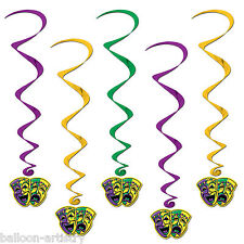 5 x Mardi Gras Carnival Party MASKS Hanging Cutouts Foil Swirls Decorations BA