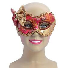Red & Gold Eye Mask With Bow - Ladies Masquerade Ball Venetian Fancy Dress