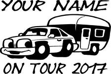PERSONALISED CARAVAN / MOTORHOME ON TOUR 2017 FUNNY STICKER CHOICE OF COLOURS D2