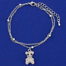 Teddy Bear W Swarovski Crystal Pink Color New Bracelet Jewelry