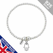 Trink Hand of Fatima Hamsa Sterling Silver Beaded Charm Bracelet Elastic Stretch