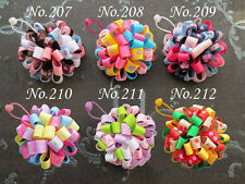 "100 BLESSING Good Girl B- Loopy Puffs Ribbon 2.5"" Hair Bows Elastic 78 No."