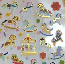 Korea Made Funny Sticker World Gold Pony Unicorn Merry Go Round