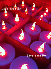 48 RED flameless Batteries LED TEA LIGHTS ideal candle Vase WEDDING PARTY