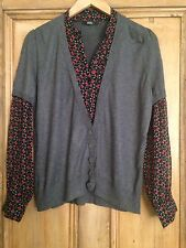 M&S Cardigan & Shirt In One Top Grey, Black & Red Size 12-14  L867