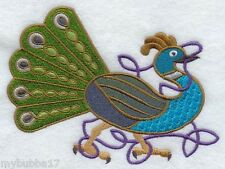 CELTIC PEACOCK SET OF 2 BATH HAND TOWEL EMBROIDERED BY LAURA