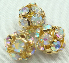 5pcs gold Spacer Rhinestone Spacer Bead Decorative Accessories 8mm 4qcfd