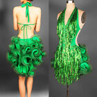Adult Sexy Latin salsa tango Cha cha Ballroom Girl Sequined Dance Dress N010