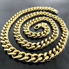 A648 GENUINE REAL 18K YELLOW G/F GOLD SOLID MENS BLING CURB LINK NECKLACE CHAIN