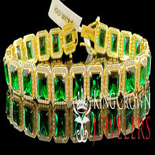 YELLOW GOLD STERLING SILVER MENS LADIES LAB DIAMOND GREEN EMERALD CUT BRACELET