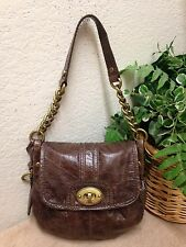 Fossil Long LIve Vintage Brown Leather Shoulder Handbag Hobo Bag Key Small NWOT
