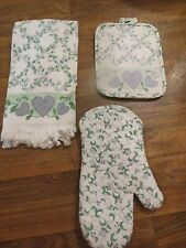 CORELLE COUNTRY COTTAGE LINEN Dish TOWEL Oven Mitt Pot Holder  REDUCED