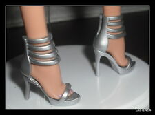 SHOES BARBIE BASIC DOLL MODEL MUSE SILVER SANDALS THE LOOK MATTEL HIGH HEEL 4173