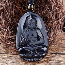 Fashion Black Hand-Carved Natural Obsidian Buddha Amulet Pendant Necklace New