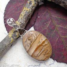 Landschaftsjaspis, Jaspis & Rauchquarz, Anhänger, 925 Sterling Silber