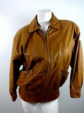 ALREAR WOMENS BROWN GENUINE LEATHER FULL FRONT ZIP JACKET SIZE S SUPER CUTE!