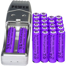 24x AAA 3A 1800mAh 1.2 V Ni-MH Rechargeable Battery Purple + AA AAA USB Cha
