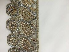 ATTRACTIVE INDIAN FINE CUTWORK ROSE GOLD and SILVER CRYSTALS TRIM/LACE-,1 METER