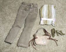 BARBIE DOLL CLOTHES - GREEN PANTS, STRIPED TOP, SHOES, PURSE