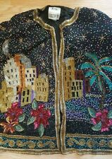 Spiegel Together Vintage Beaded Sequin Jacket Gold Green Palm Trees Beautiful