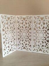 Triptychon Paravent  Fensterparavent Sichtschutz Holz 60 x 45 cm Weiß Paravant