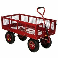 Yard Garden Wagon Large Cart 48x24 1400lb Utility Wheelbarrow Nursery Patio New