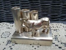 SILVER PLATED HAND CRAFTED TRIO PEN HOLDER & COW DESK STAND HALMARKED SIGNED