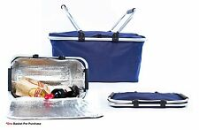 Insulated Folding Picnic Basket / Cooler with Handles (Navy)